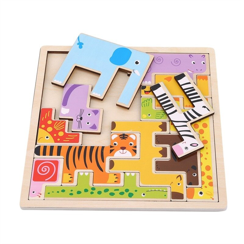 أحجية الصور المقطوعة الملونة ثلاثية الأبعاد على شكل حيوانات كرتونية ، ألعاب تعليمية للأطفال ، تنمية الذكاء ، تعليم مبكر