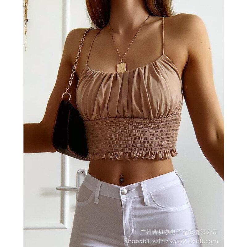 WEPBEL المرأة الصيف أنيقة Ruched مطاطا حزام الخصر قميص قصير قميص السيدات مثير أكمام الرسن مشد تي شيرت قصير