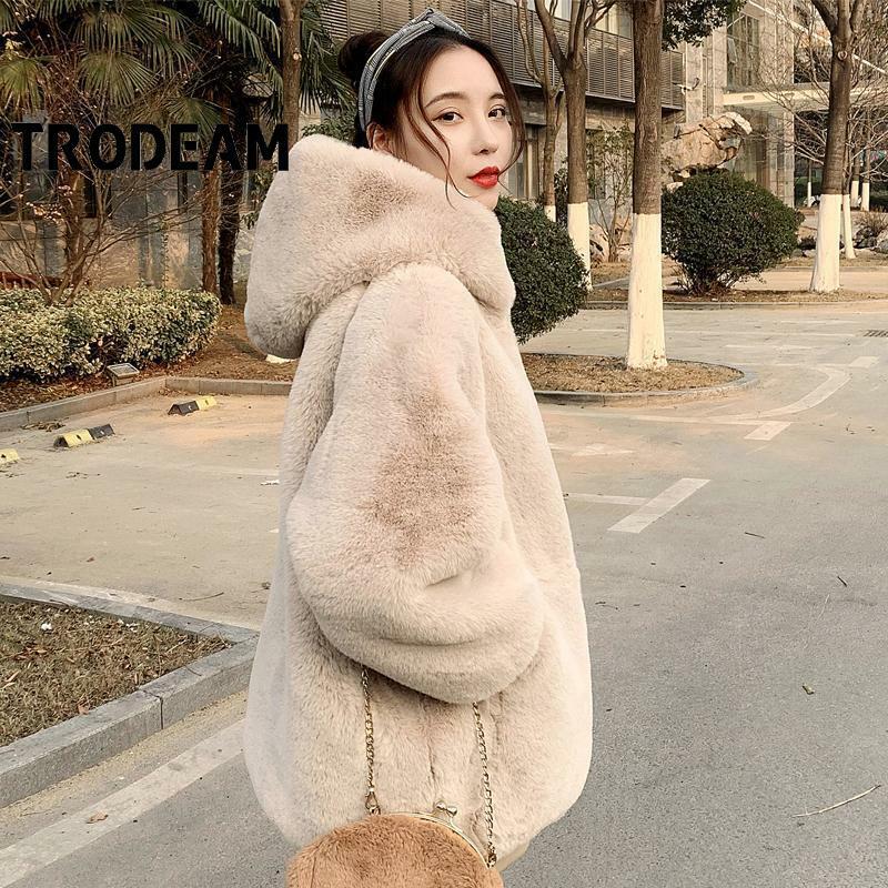 TRODEAM فرو الأرنب الصناعي أفخم معطف منتصف طول طويلة الأكمام مدمن مخدرات سميكة الدافئة النساء معاطف وسترات شتاء 2021 موضة جديدة