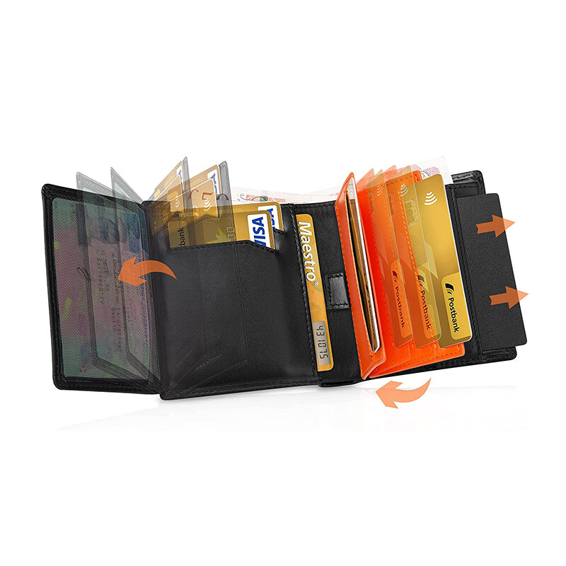 منتجات جديدة تتفاعل حجب مصمم محفظة رجالي محافظ جلد طبيعي فاخر محفظة حمل بطاقات الائتمان ضئيلة مع جيب عملة