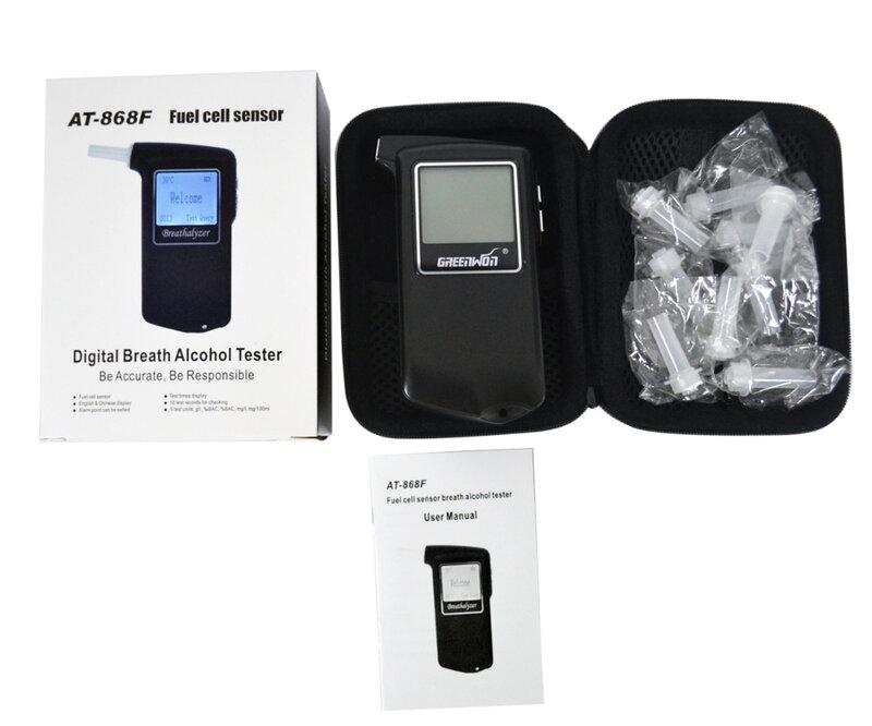 الشرطة المهنية الرقمية الوقود مستشعر الخلية فاحص نسبة الكحول في النفس AT-868F الكحول
