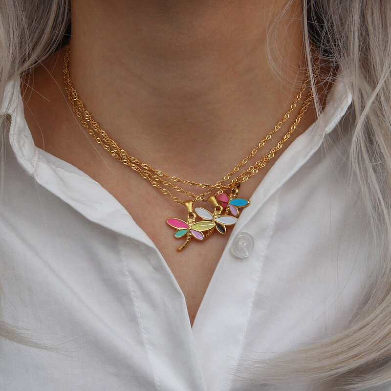 2021 جديد Y2K مجوهرات الفولاذ المقاوم للصدأ تشويه الحرة الذهب الحقيقي مطلي اليعسوب قلادة قلادة ملونة المينا الحشرات قلادة