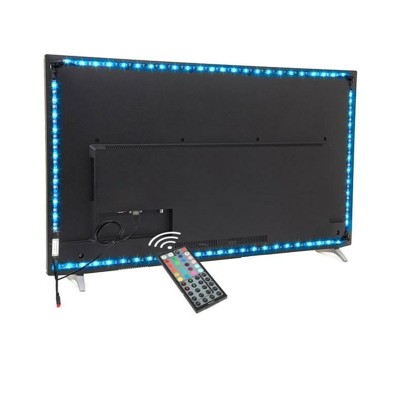 إضاءة خلفية للتلفاز Led قطاع ضوء USB بالطاقة RGB متعدد الألوان عن بعد 5050 شريط مرن أضواء للتحكم 24-50 بوصة التلفزيون مرآة الكمبيوتر APP