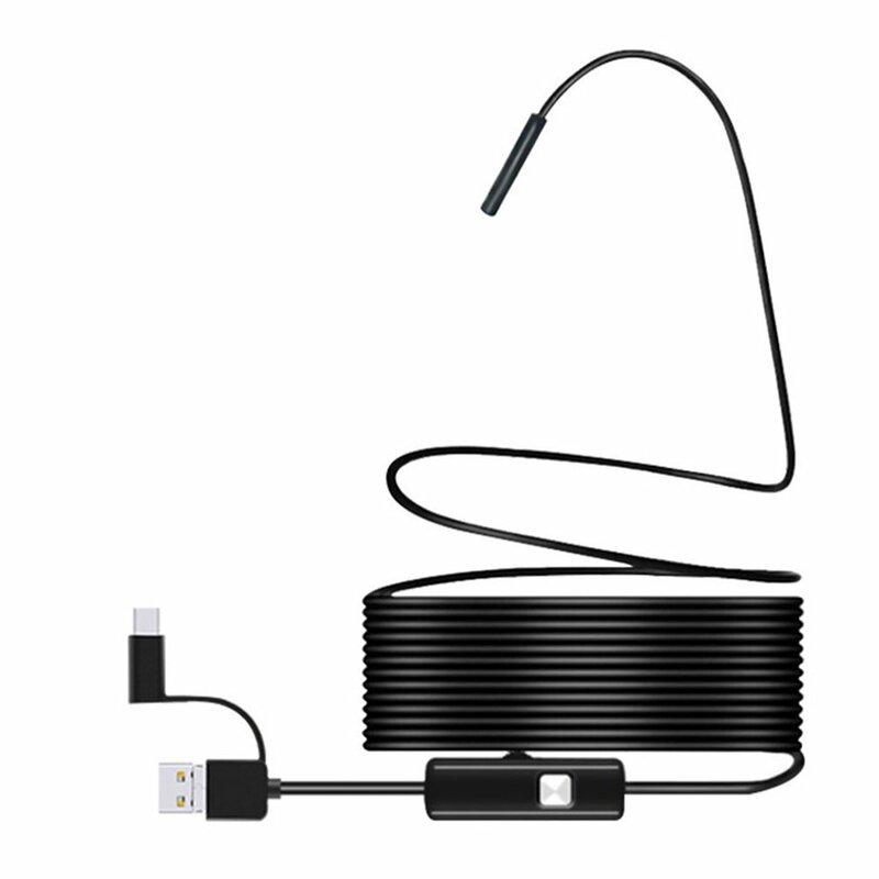 كاميرا منظار داخلي صغير TYPE C USB, كاميرا فحص ثعبان بوريسكوب مع كبل صلب مرن لهواتف أندرويد الذكية وكمبيوتر 7 مم 2 م 1 م 1.5 م