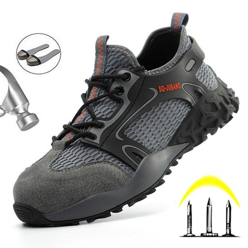 2021 حذاء امن للعمل عدم الانزلاق مقاوم للماء مكافحة تحطيم الصلب تو ثقب أحذية عمل خفيفة الوزن موضة أحذية رياضية للرجال