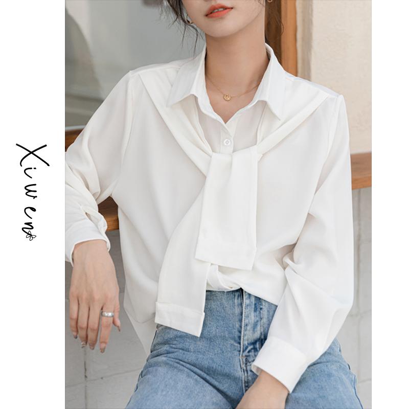 ربيع 2021 جديد الراقية الشيفون قميص المرأة تصميم الشعور المتخصصة كاذبة قطعتين دعوى ناضجة طفيفة مزاجه العلوي