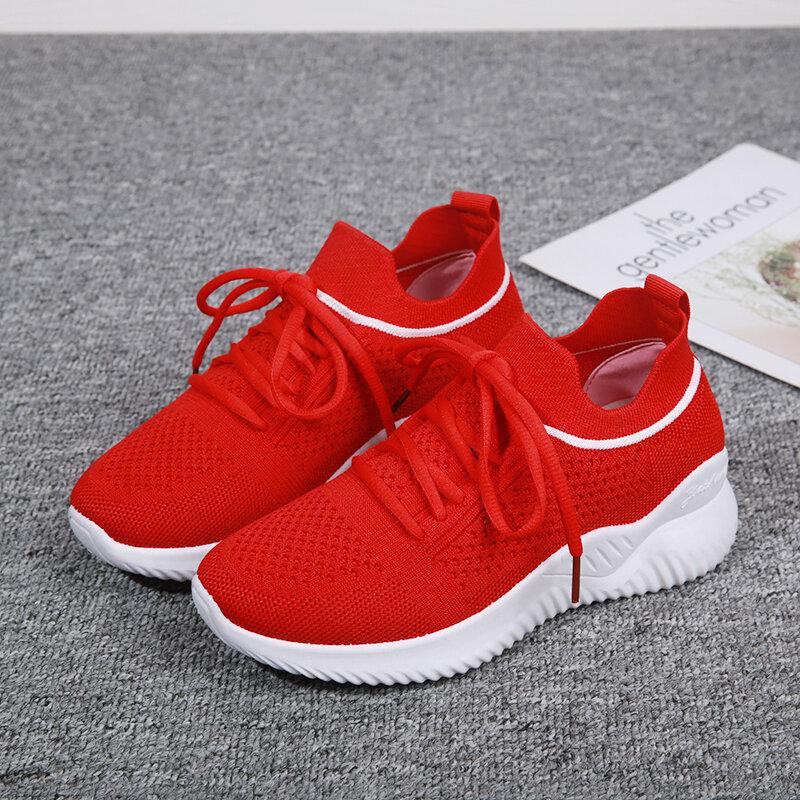 2021 موضة جديدة أحذية نسائية ، حذاء نسائي كاجوال ، تنفس صافي الأحذية ، سميكة سوليد أحذية رياضية نسائية