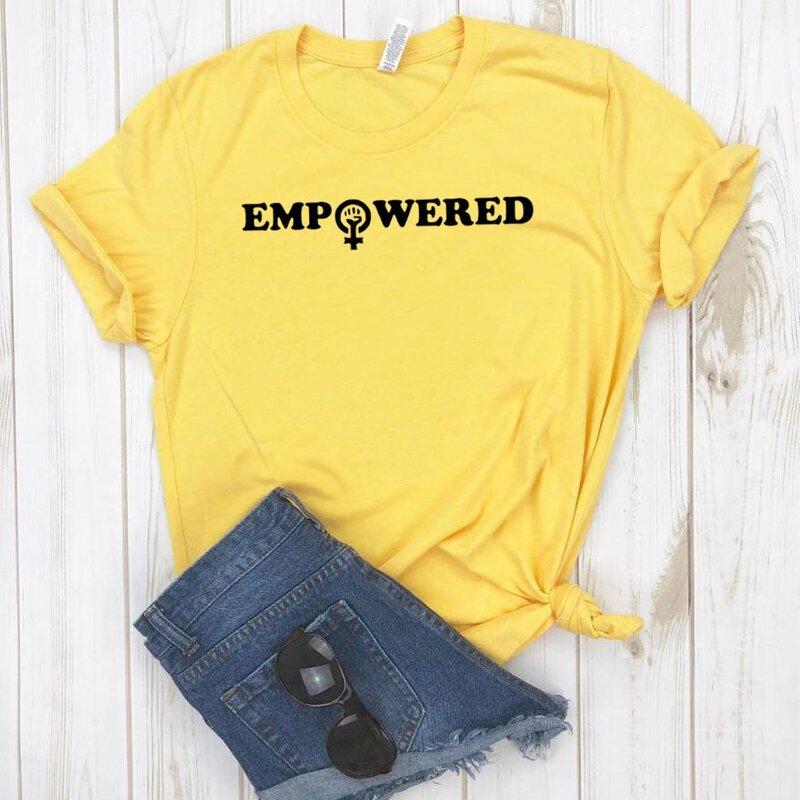 المرأة تي شيرت تمكين المرأة النسوية قميص مطبوع المرأة قصيرة الأكمام س الرقبة فضفاضة تي شيرت السيدات الصيف السببية تي شيرت بلايز