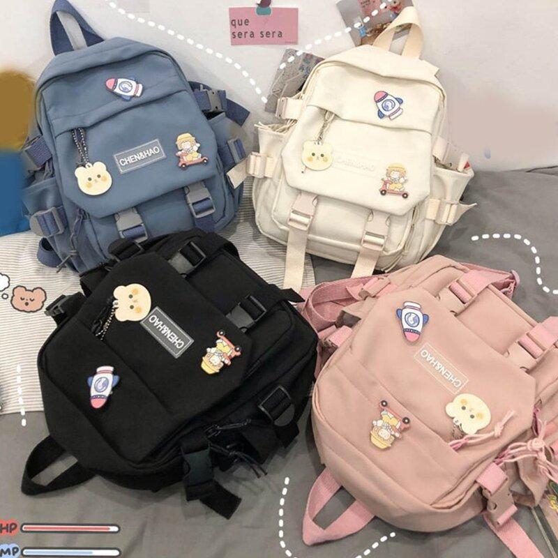 حقيبة ظهر جميلة متعددة الوظائف للفتيات في سن المراهقة مزودة بحلقة مشبك حقيبة سفر محمولة حقيبة مدرسية صغيرة للسيدات حقائب ظهر للنساء