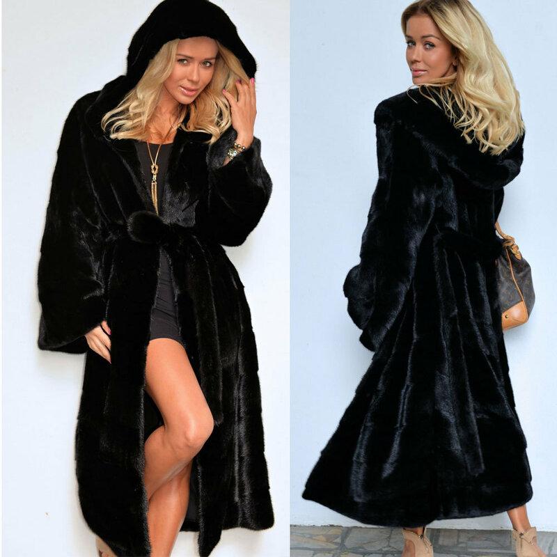 X-طويلة فو الفراء معطف مقنع المرأة 2020 الخريف الشتاء سميكة الدافئة جاكيتات الإناث حجم كبير غير رسمي ضئيلة معطف خمر الصلبة الملابس