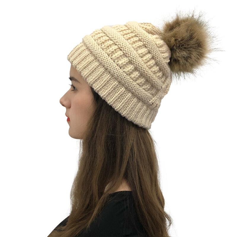 2020 جديد الصوف الكرة محبوك قبعة في الهواء الطلق الرياح الدافئة واقية عبر الصوف قبعة القبعات الخريف للنساء 2020 منس القبعات الشتاء قبعة