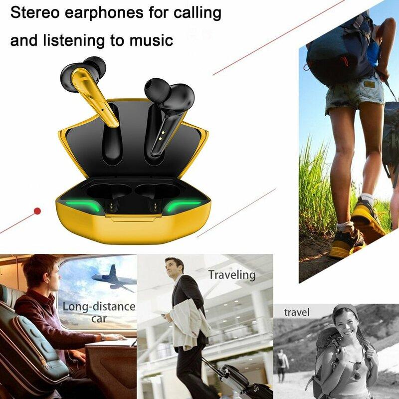 سماعات لاسلكية للالعاب TWS سماعة لاسلكية تعمل بالبلوتوث-متوافق مع سماعات الرياضة سماعات مقاومة للماء سماعات ستيريو باس