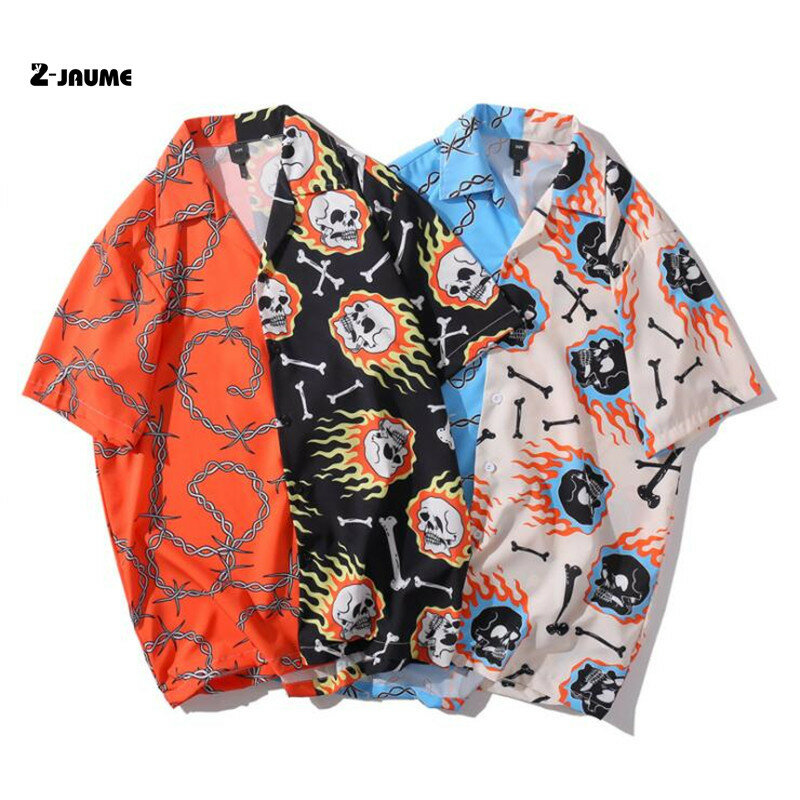قميص هاواي للرجال ، ملابس الشارع ، الهيب هوب ، Harajuku ، سلسلة النار ، نمط الهيب هوب ، الصيف ، 2021