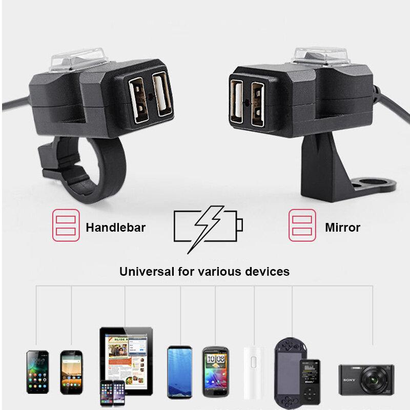USB شاحن للدراجات النارية المزدوج USB امدادات الطاقة محول تهمة لياماها virago 125 535 1100 تينيري 700 رابتور 700 T700 XTZ 700