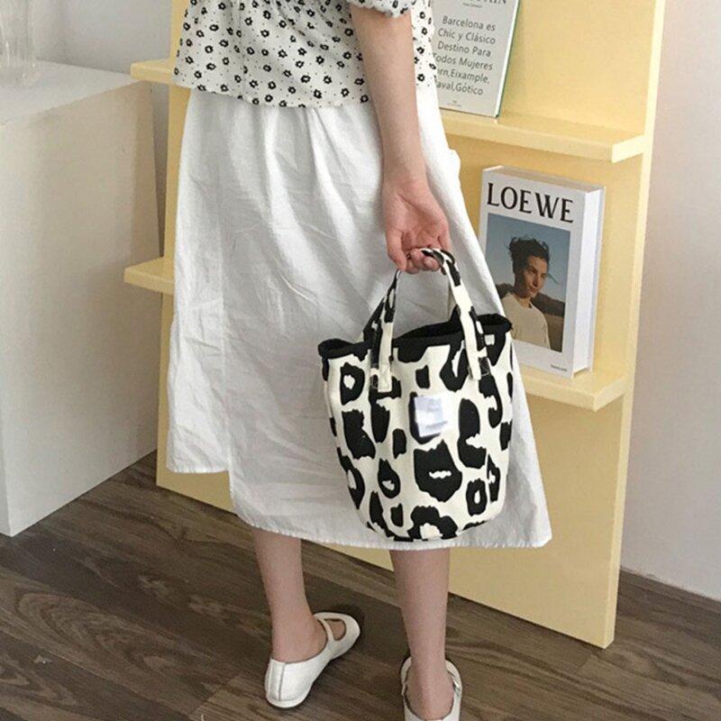 Y166 موضة المرأة حقيبة يد قماش حقيبة كتف الوردي ليوبارد دلو حقائب حقائب يد صغيرة حمل ريترو القماش تحت الإبط
