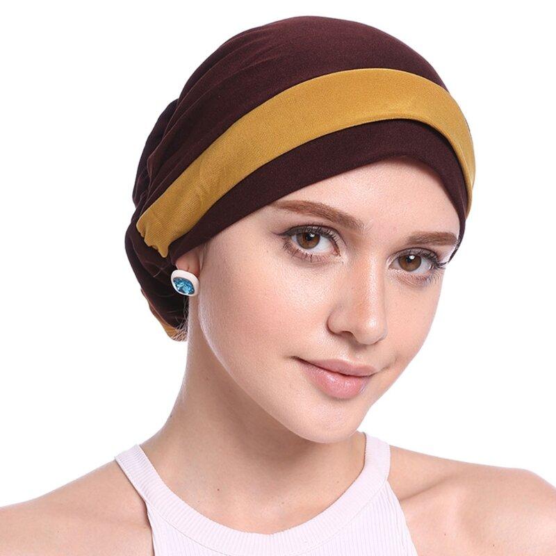 إمرأة أنيق بسط زهرة كتلة لون تربان إسلامية شيمو سرطان قبعة قبعة صغيرة