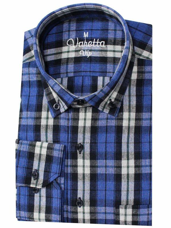 قميص رجالي منقوش من الفانيلا ، قميص أزرق بأكمام طويلة ، صوف وقطن ، نمط غير رسمي