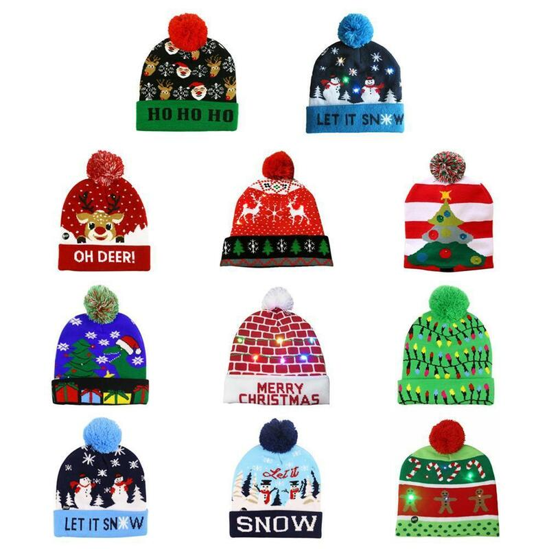 عيد الميلاد الملونة متوهجة محبوك قبعة P6R0