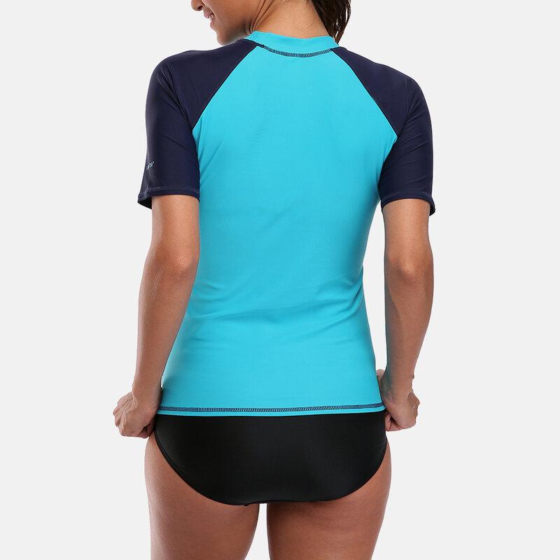 Anfilia-قميص راشغارد نسائي بأكمام طويلة وسحاب أمامي ، ملابس سباحة مرقعة ، بلوزة ركوب الأمواج ، قميص التنزه ، قميص واقي من الطفح الجلدي UPF50