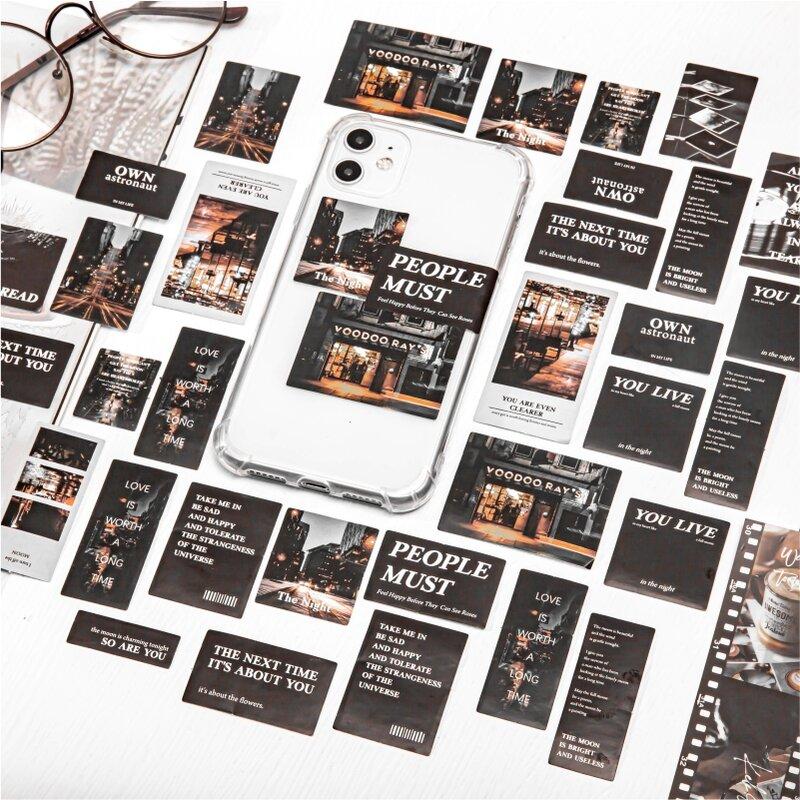 45 قطعة/الحقيبة خمر الكون ضوء الظل سجل مجلة ملصقات الزخرفية سكرابوكينغ عصا التسمية مذكرات ألبوم ملصقات