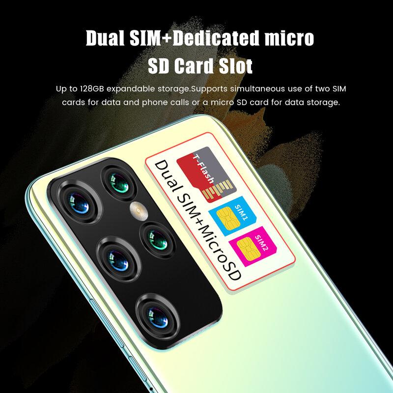 أرخص هاتف ذكي S21 الترا 16GB + 512GB 7.1 بوصة كامل الشاشة الهاتف الذكي 24MP + 48MP كاميرا 6000mAh هاتف محمول شحن سريع هدية