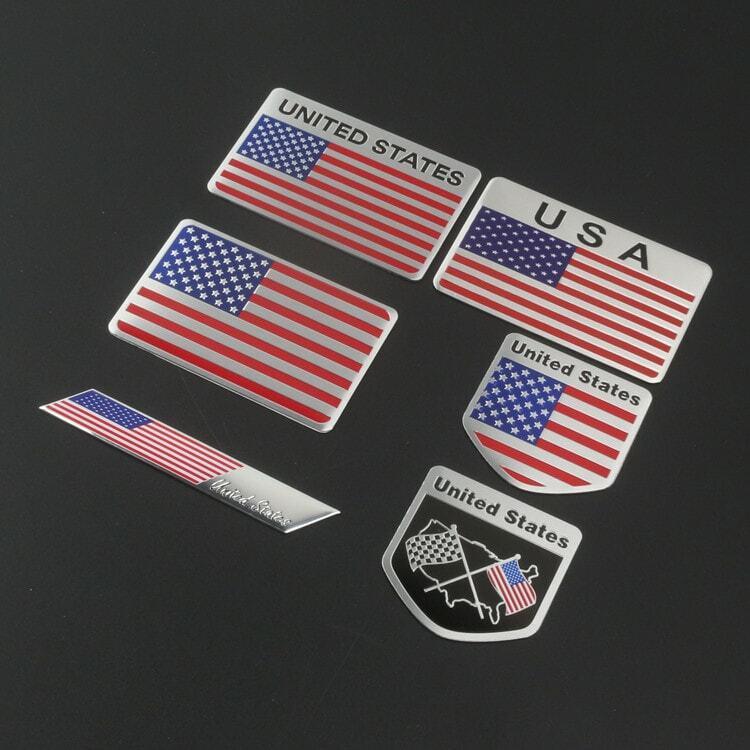 معدن ثلاثية الأبعاد الولايات المتحدة الأمريكية الولايات المتحدة الأمريكية العلم شارة شعار الألمانية سيارة ملصق مائي مصبغة الوفير نافذة الج...