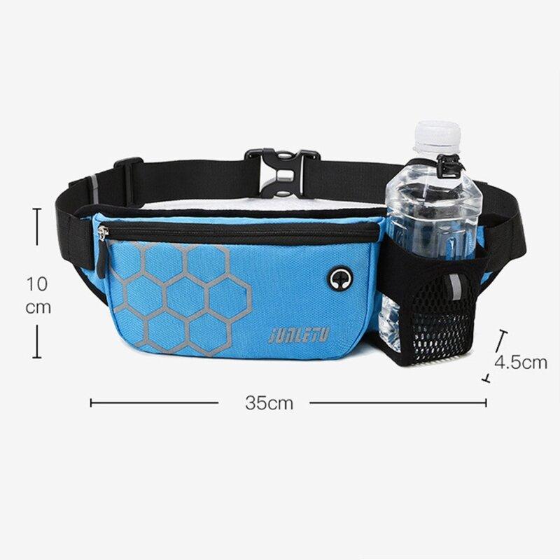 النساء الرجال الخصر حزام ركض رياضي حزمة الحقيبة رياضة زجاجة ماء للياقة البدنية موبايل هاتف محمول حقيبة رياضية D5QD