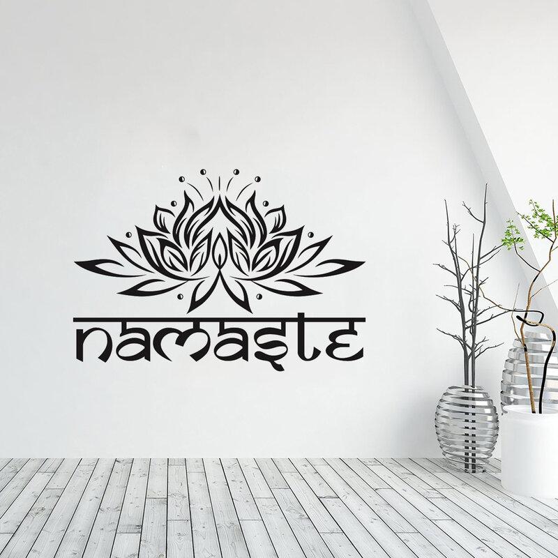 الهندي ناماستي الكلمات الدين لتقوم بها بنفسك الجدار ملصق الفينيل لوتس اليوغا ملصق بوذا ديكور المنزل غرفة نوم زهرة جدارية adesنق دي parede