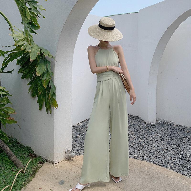 Korejepo النساء حللا 2021 الصيف السيدات الفرنسية مزاجه لطيف التخسيس فضفاض الحمالة غير رسمية قطعة واحدة واسعة الساق السراويل