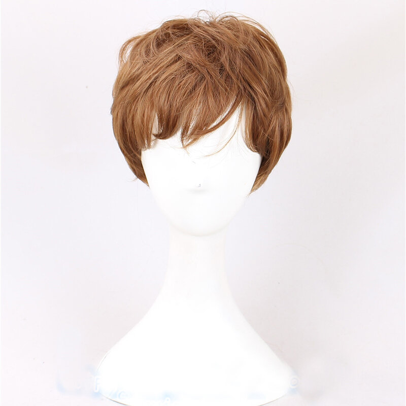 Wolfsbane قصيرة البني الأصفر شعر مستعار رقيق دور اللعب أنيمي مقاومة للحرارة الاصطناعية خصلات الشعر المستعار + غطاء شعر مستعار الحرة