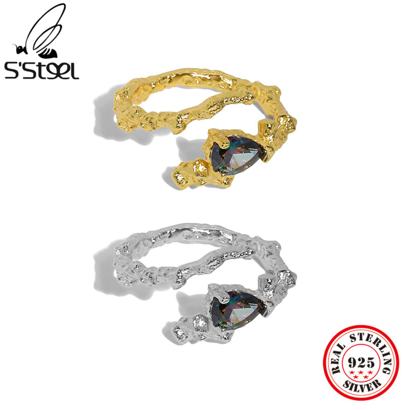 S'STEEL 925 فضة تصميم كوري مايكرو الزركون افتتاح خاتم قابل للتعديل للنساء الحد الأدنى الإكسسوارات القوطية مجوهرات