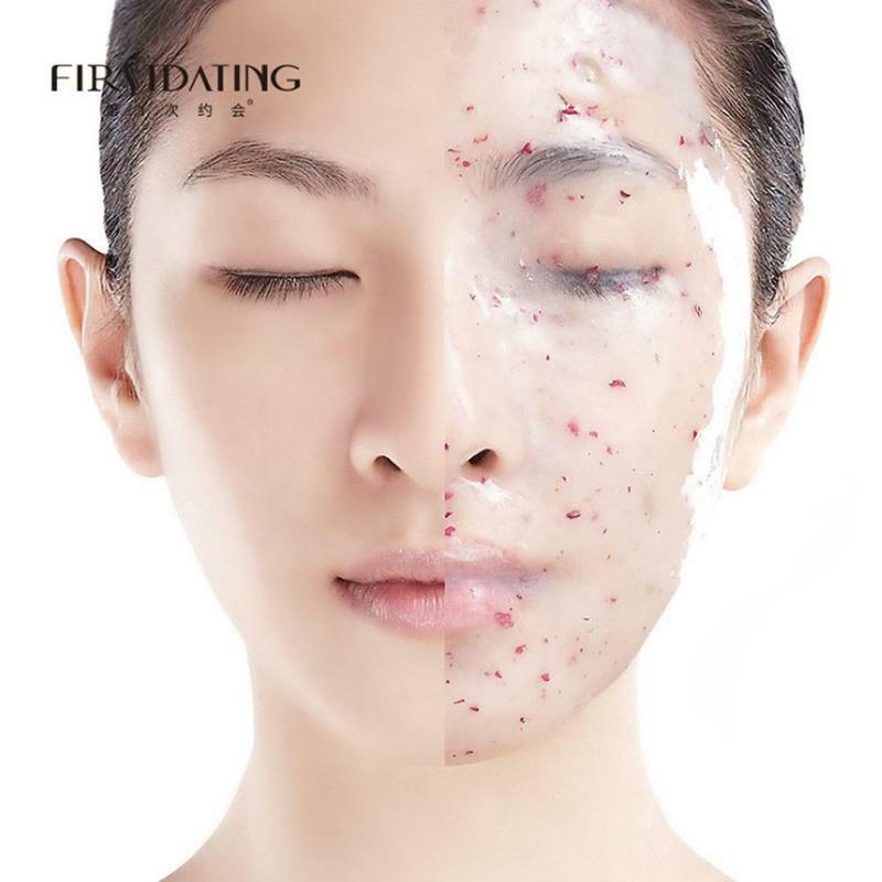 1 قطعة قناع الكولاجين الوردي حمض الهيالورونيك لينة مسحوق قناع الوجه مكافحة الشيخوخة المضادة للتجاعيد تقشر المطاط قناع