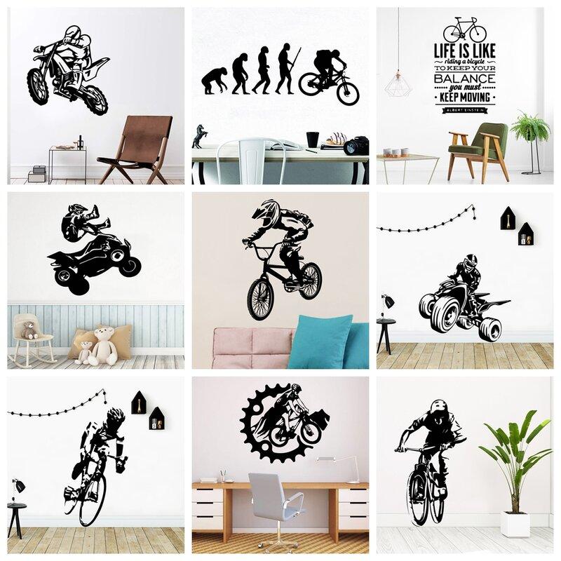 Vantage Sport Bike Boy-ملصق حائط قابل للإزالة ، ورق حائط لديكور غرفة النوم ، للأولاد والبنات