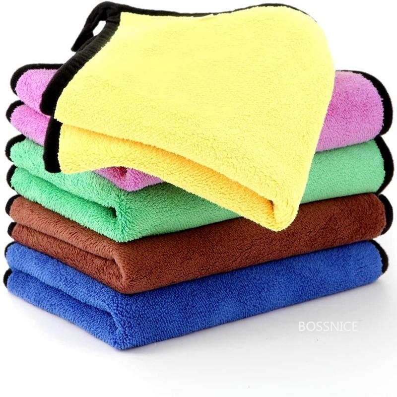 5 قطعة قسط المهنية مناشف من الألياف الميكرو لتنظيف المنزل وغسل السيارات ، ماصة للغاية ، خالية من الوبر ، خالية من خط