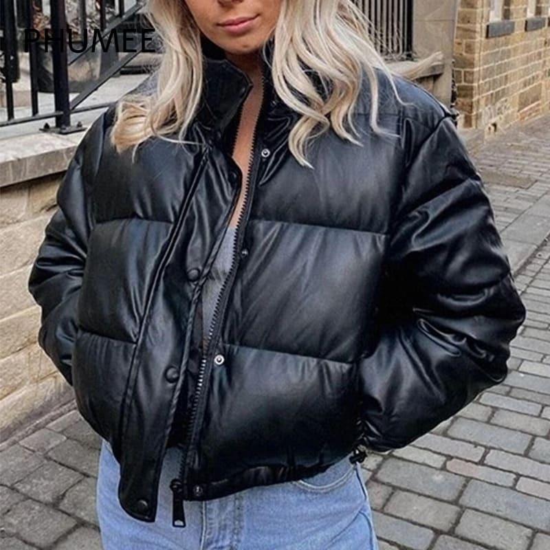 PHUMEE أسود شتاء دافئ المرأة سميكة مطاطا هيم سترة منفوخة الشارع الشهير عادية الصلبة نصف عالية طوق سترات فقاعة معطف Y2K