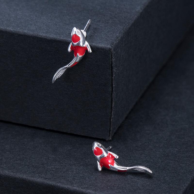 VLA 925 الفضة الموضة الإبداعية هدية عيد ميلاد الأسماك أقراط للنساء تصميم بسيط الرجعية المينا كوي أقراط 2021 الاتجاه