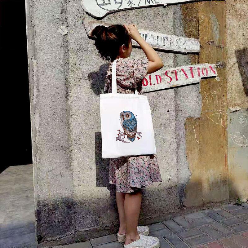 بوهيميا قماش السفر التسوق مع أنيمي حقيبة يد بوهو المتسوق حقائب للنساء الإناث أفضل Totebag البومة طباعة حمل حقيبة يد