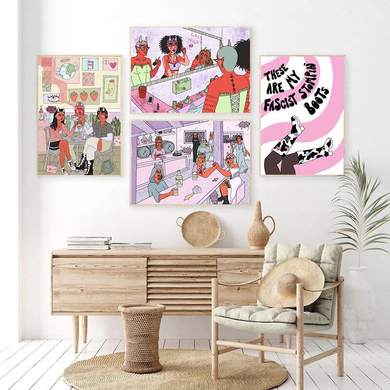 النسوية تافيرن طباعة ملصق مجردة اللون بنات قماش اللوحة فرات بروس صور فنية للجدران الحمام غرفة نوم الشمال ديكور المنزل
