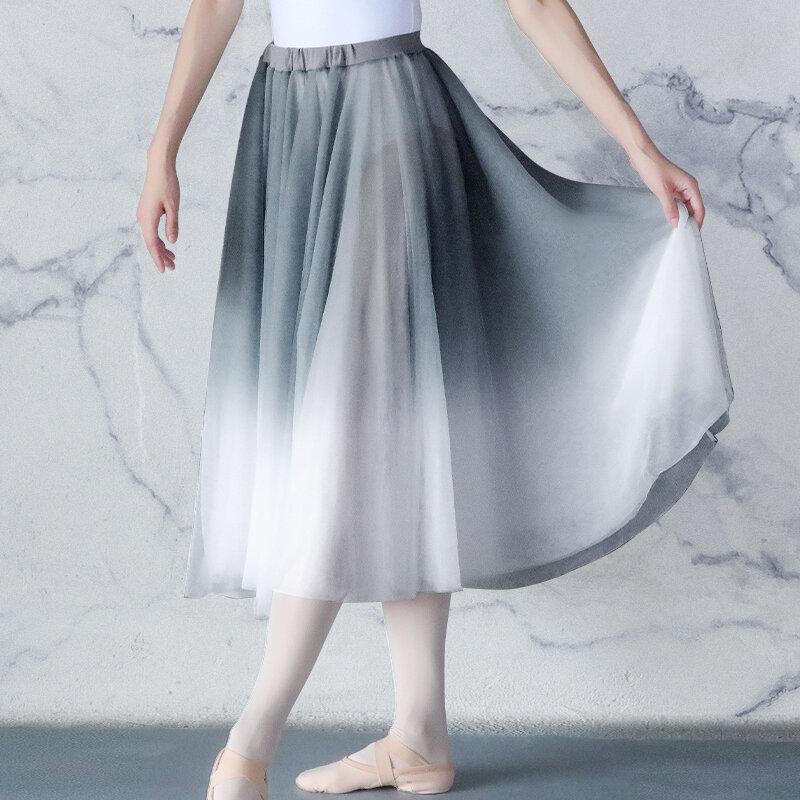 الوافدين الجدد الباليه تنورة النساء الكبار غنائية تنورة الباليه طويل الشيفون التفاف التنانير الباليه أزياء رقص