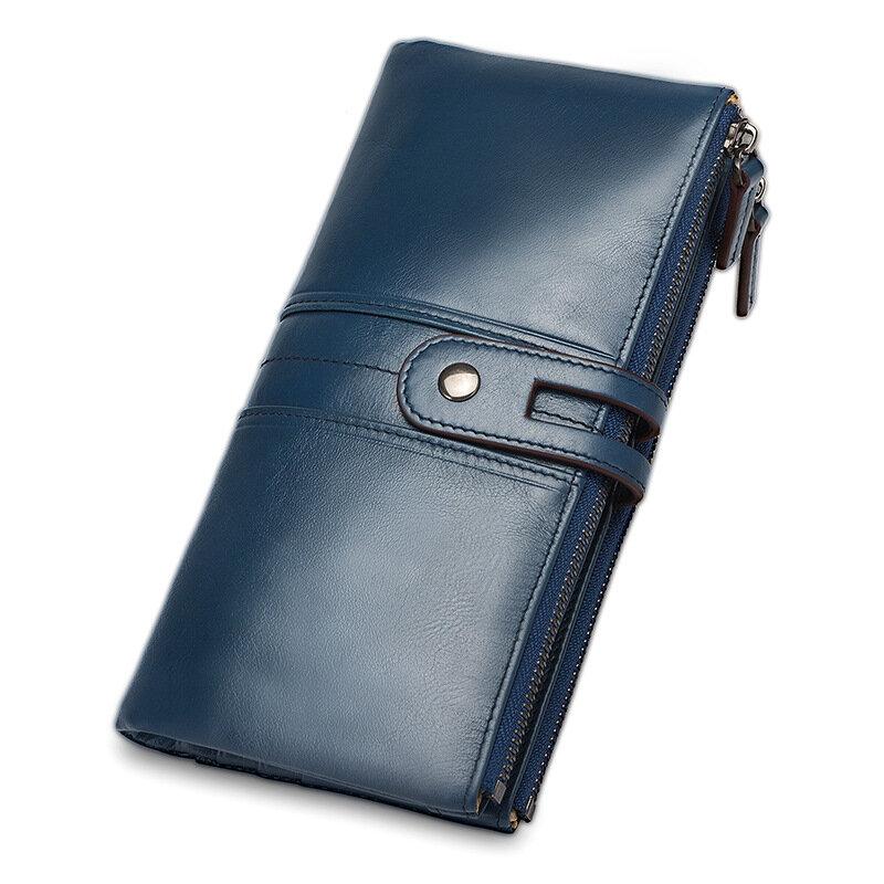 جلد معرف/حامل بطاقة الائتمان Bifold الجبهة جيب محفظة طويلة مع تتفاعل حجب حامل بطاقة الأعمال 100% جلد طبيعي