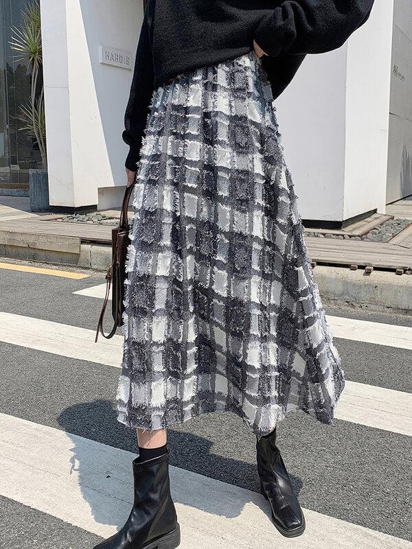 TIGENA موضة النساء ميدي تنورة 2021 الخريف الشتاء خمر شرابة منقوشة طباعة خط عالية الخصر تنورة طويلة الإناث السيدات الكورية