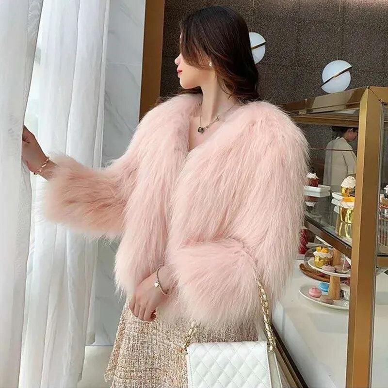 أنيقة عالية الجودة فو الفراء معطف الصلبة الحلو فضفاض دافئ معطف قصير المرأة الشتاء الوردي الأسود فو الثعلب الفراء المتضخم ملابس خارجية