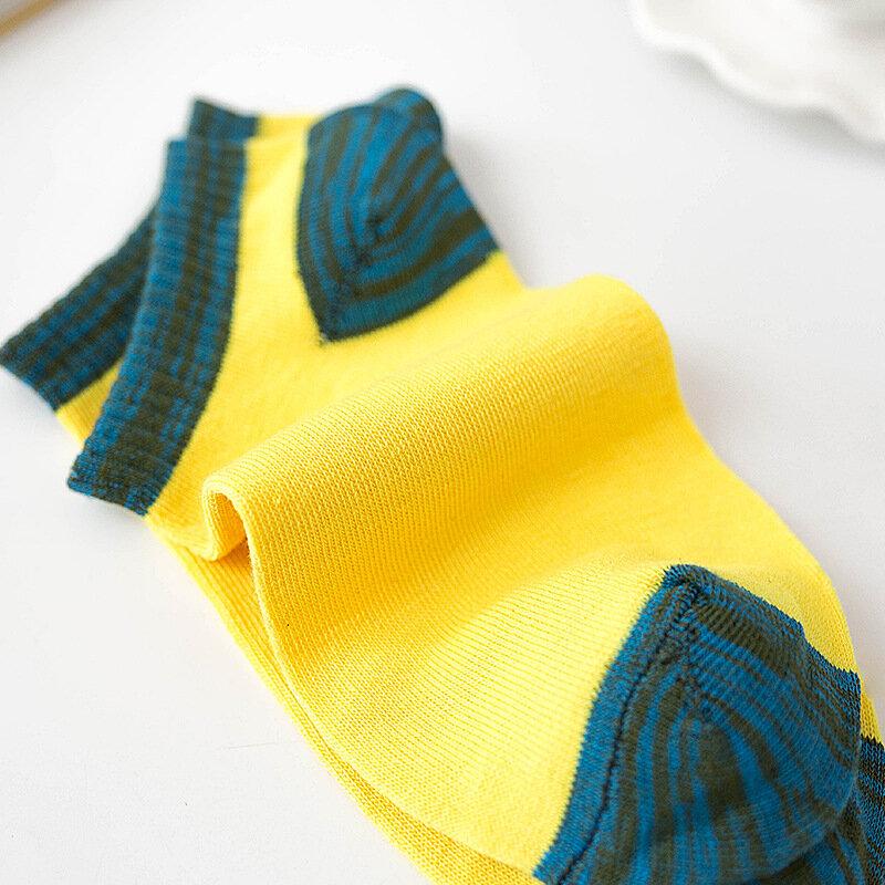 5 أزواج اللون مطابقة جوارب للرجال القطن لربيع وصيف الكاحل الجوارب غير رسمية الرجال 6302