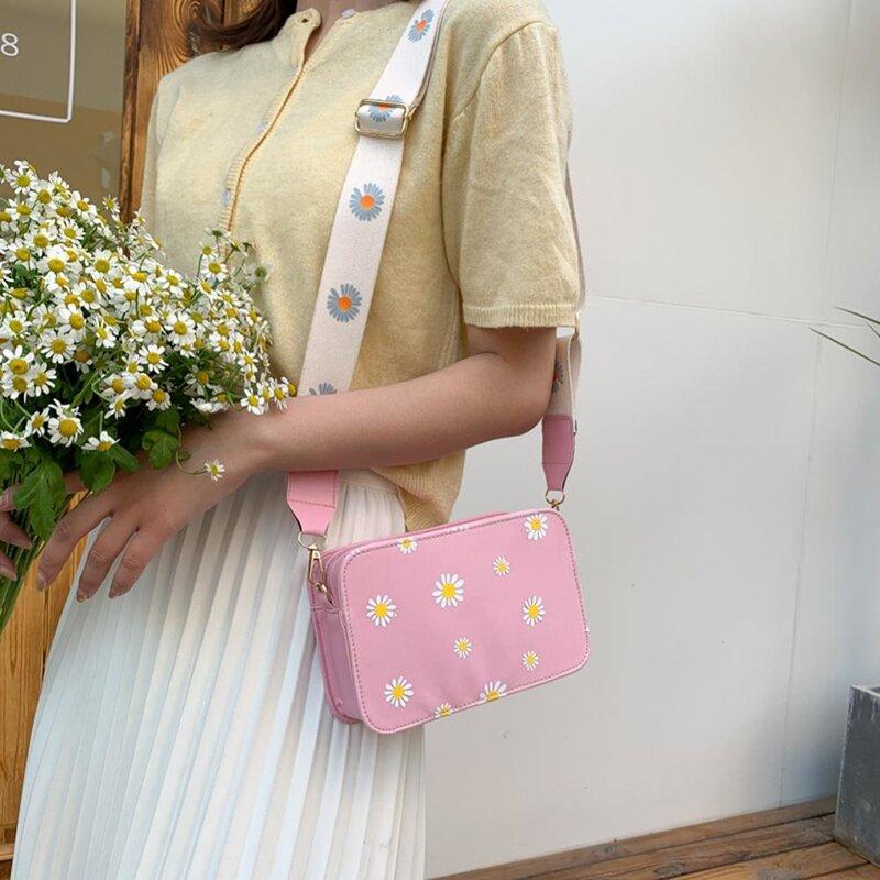 حقيبة كتف صغيرة من الجلد الصناعي الطازج s نساء بنات الأزهار المطبوعة حقائب كروسبودي الكلاسيكية الأنيقة حقيبة كتف كروسبودي