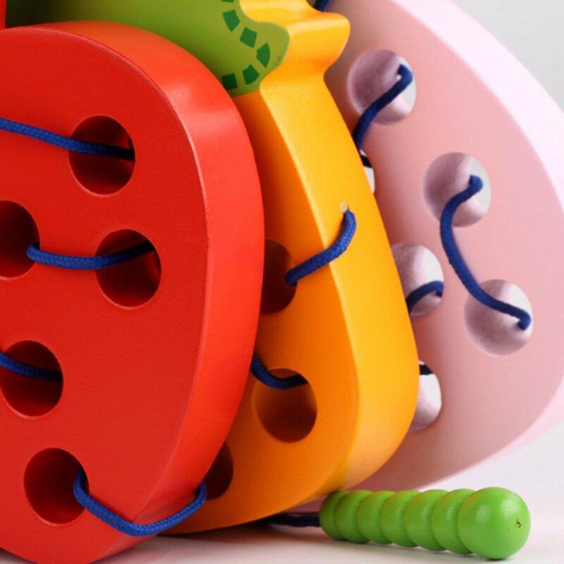 أطفال مونتيسوري التعليمية لعبة خشبية متعة موضوع الخشب لعبة شكل Cognize دودة أكل الجبن التفاح التعلم المبكر التدريس