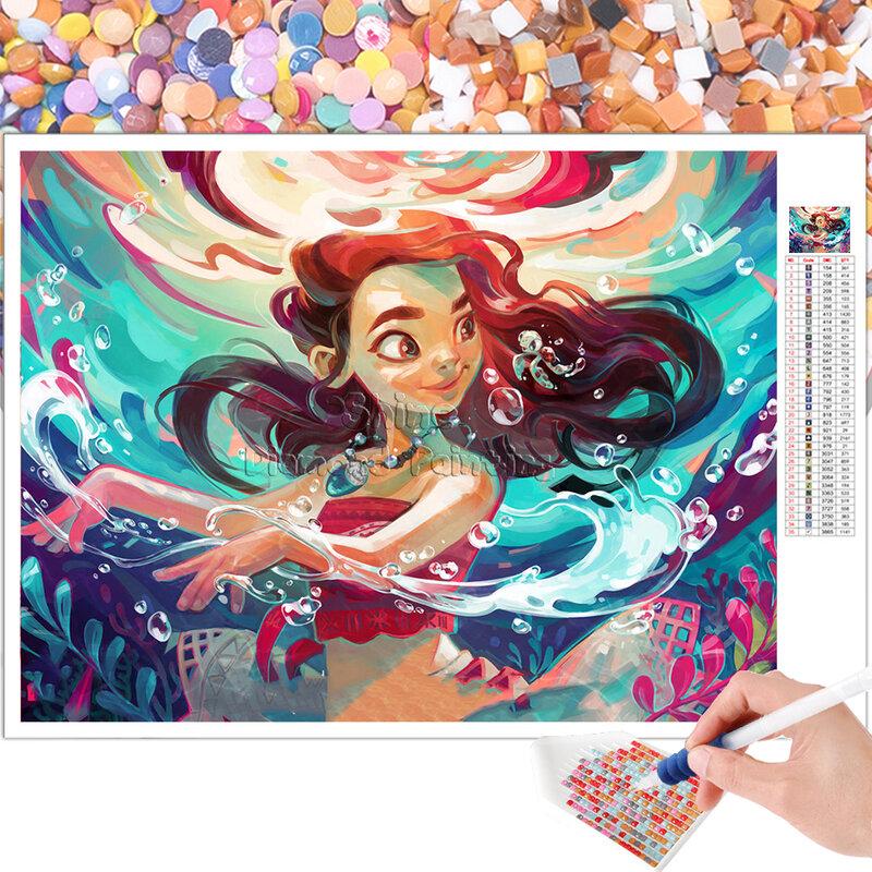 الماس اللوحة الكرتون ديزني حورية البحر المحيط كامل مربع الجولة 5D DIY بها بنفسك هدية التطريز عبر غرزة فسيفساء ديكور المنزل