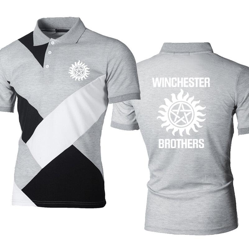الصيف الرجال قميص بولو وينشستر الأخوة الطباعة موضة عادية قصيرة الأكمام عالية الجودة القطن الرجال قصيرة الأكمام