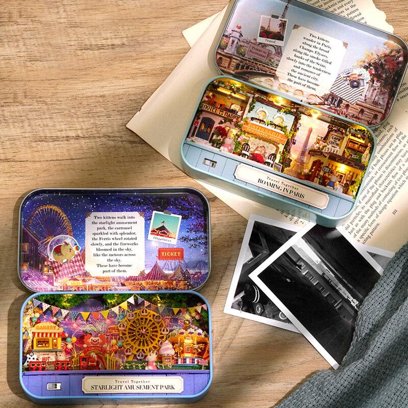 بيت الدمية المصغر مع أثاث أرنب خشبي ، لعبة بناء مصغرة مع إضاءة LED ، هدية عيد ميلاد للأطفال
