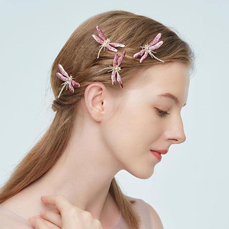 مشبك شعر اليعسوب الذهبي للنساء والفتيات ، دبابيس عصرية ، إكسسوارات شعر للعروس