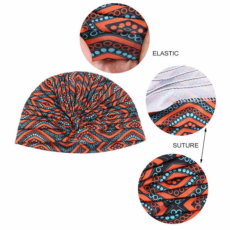 2021 جديد إمرأة طباعة زهرة عقدة السرطان الكشكشة الكيماوي قبعة قبعة وشاح عمامة رئيس التفاف محبوك قبعة فقدان الشعر اكسسوارات